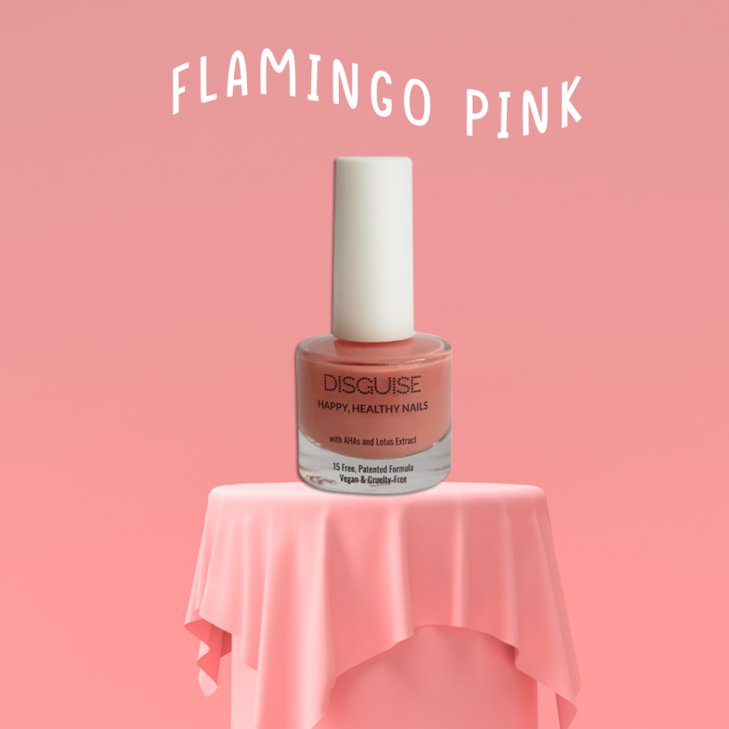 Flamingo pink nail paint by Disguise Cosmetics