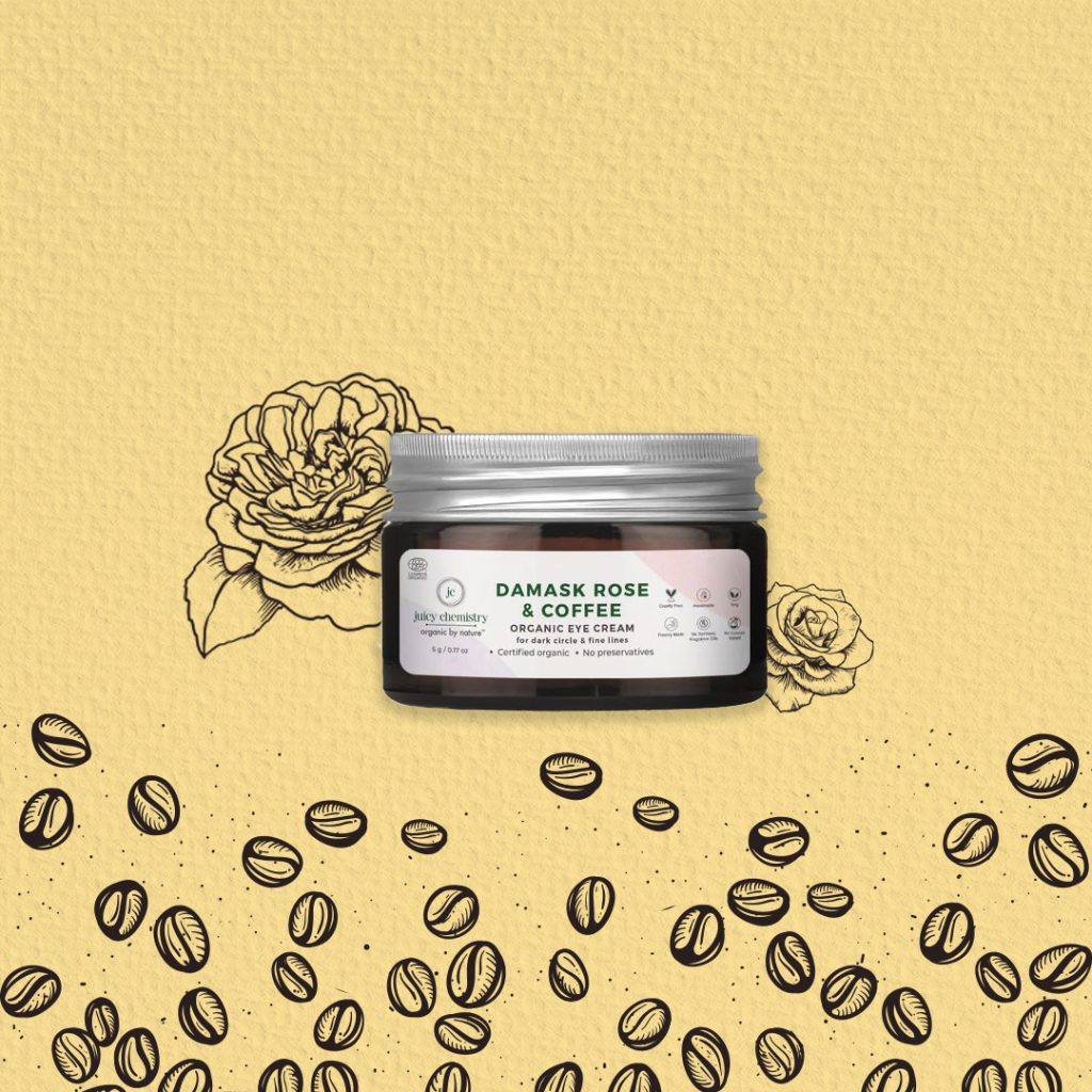 Organic eye cream with coffee & rose by Juicy Chemistry