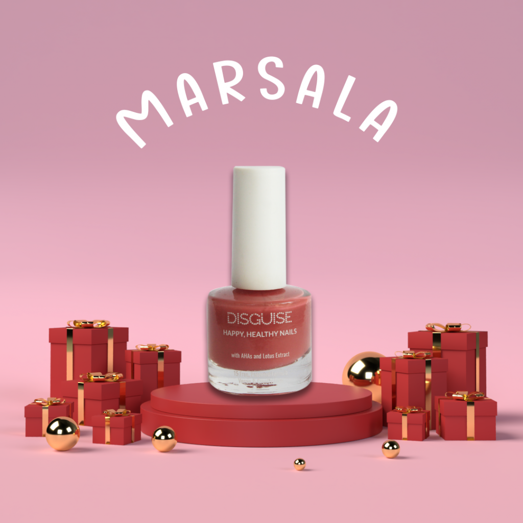 marsala pink nail paint by Disguise Cosmetics